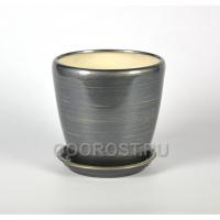 Горшок Грация №3 (глянец графит-золото) 2,3л d17см