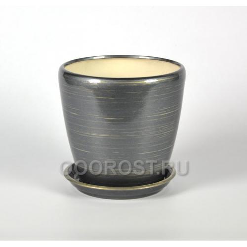 Керамический горшок Грация №1 глянец графит-золото 10л, d26см, h26см