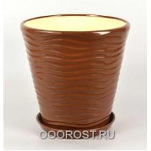Горшок Новая волна 9л (глянец молочный шоколад) d27,5см, h26,5см