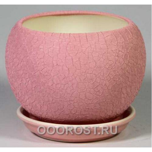 Керамический горшок Шар №2 шелк розовый 1,4л d16см