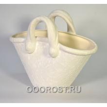 Кашпо Корзинка (шелк белый), 4л, h28см, L34см