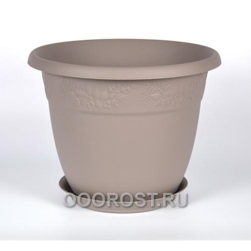 Кашпо Рябина с подставкой D13см, 0.8л серый