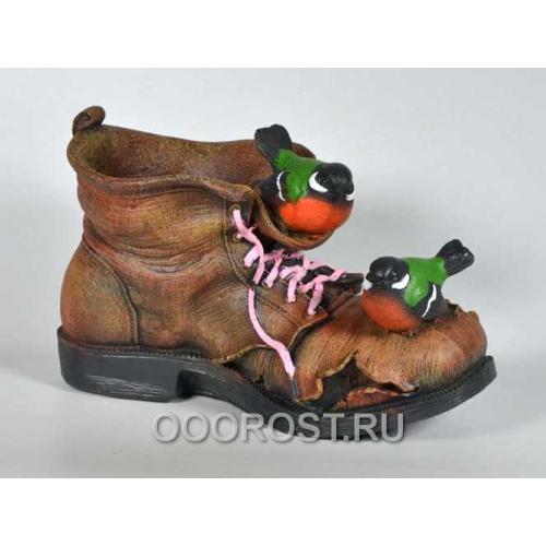 Кашпо Ботинок с двумя птичками h 17 см
