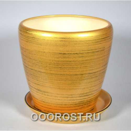 Горшок Грация №2 (глянец зол-черный) 4,5л d 20см