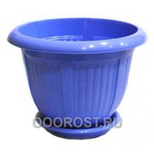 Горшок Волна d28 голубой с поддоном