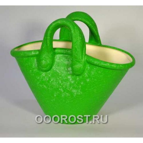 Кашпо Корзинка (шелк зеленый), 4л, h28см, L34см