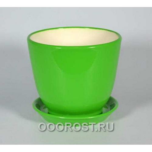 Горшок Кедр №2 (глянец  Зеленый) 2,2л
