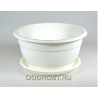 Горшок Флора d09см, 0.15л белый с поддоном
