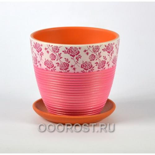 Горшок для цветов Гламур фуксия крокус №3  d18см, 2,3л
