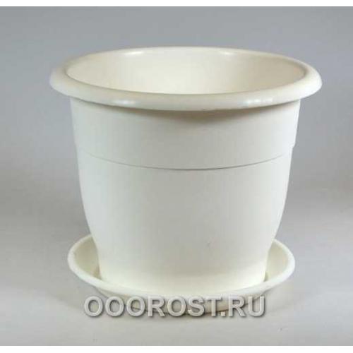 Горшок Лотос d12,5см 0,8л белый с поддоном