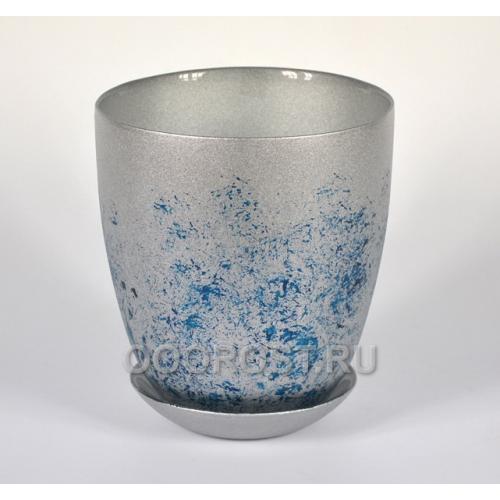 Горшок стеклянный №4, крашенный Индиго с поддоном d15.5см,  h16.5см