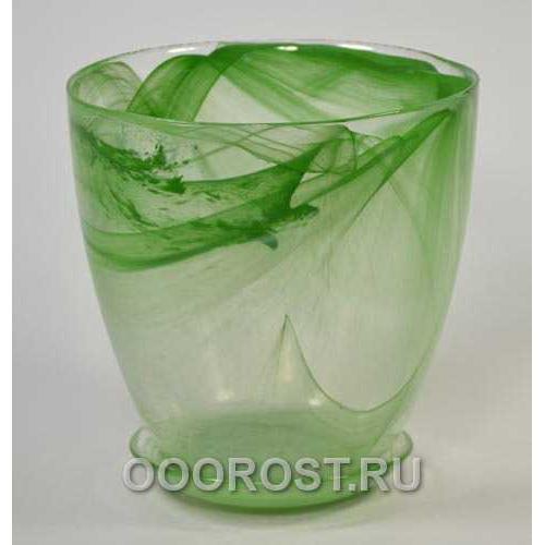 Горшок стеклянный №5 с поддоном Зеленый