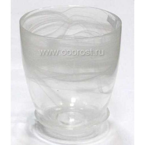 Горшок стеклянный №3 с поддоном Белый  d14,5см,  h14,5см