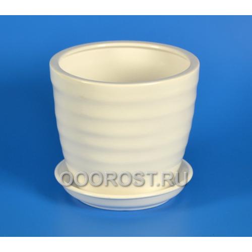 Горшок Обруч №3 2,1л (глянец белый) d18 см, h 16см
