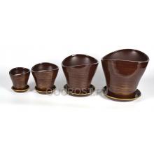 Комплект Волна из 4-х шоколад-золото  d28, 23, 17, 13 см