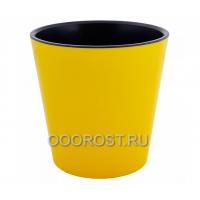 Кашпо Деко со вставкой d13см, h12,5см желто-черное