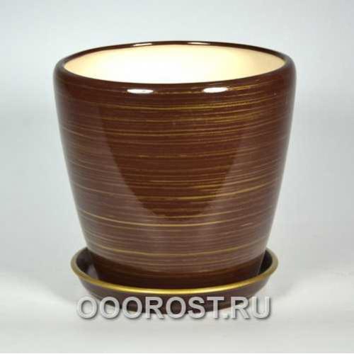 Горшок Грация №2 (глянец шоколад-золото) 4,5л d 20см