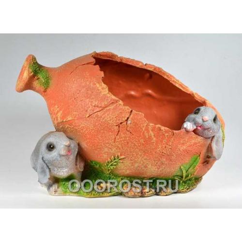 Кашпо Амфора с зайцами H21см, L30см.