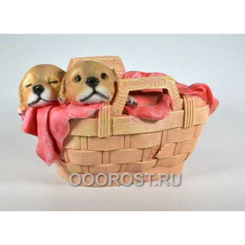 Кашпо Корзинка с двумя щенками h 20 см