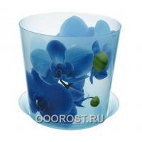 Кашпо ДЕКО с поддоном D12.5см, 1.2л голубая орхидея