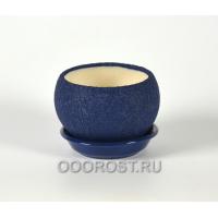 Горшок Шар №3  (шелк синий) 0,4л  d11см