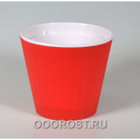 Горшок Ибис с двойным дном 13*11,2 красный бархат-белый