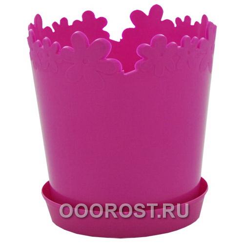 Горшок Лютик d13см темно-розовый с под