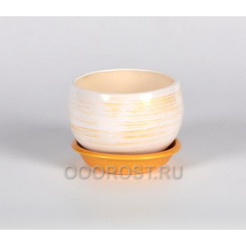 Горшок Шар №3  (полоска бело-золотая)  0,4л  d11см