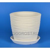 Керамический горшок Грация-Волна №3 крошка белый 2,2л, d18, h15см