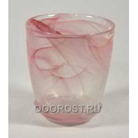Стеклянный горшок №3 с поддоном Розовый