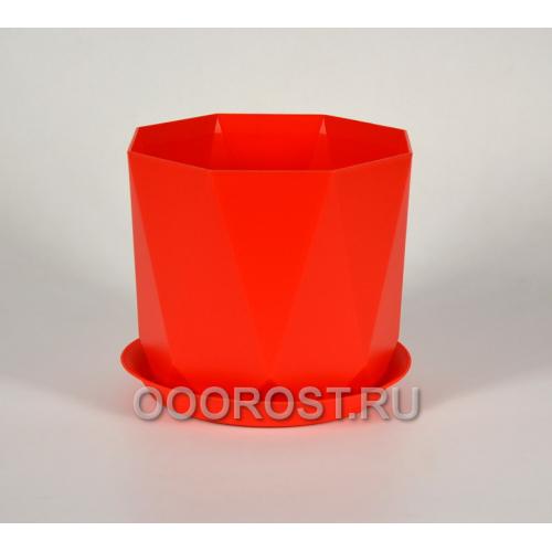 Кашпо Призма с поддоном D22см, 4.7л красный