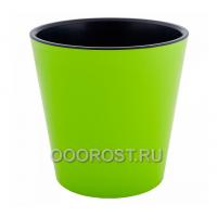Кашпо Деко со вставкой d13см, h12,5см оливково-черное