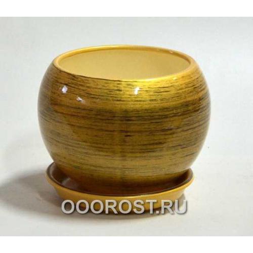 Горшок Шар №2  (глянец золото-черный)  1,4л  d16см