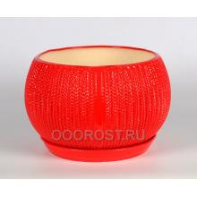 Горшок Шар 13л КОСА (глянец красный)  d26-32см, h22см