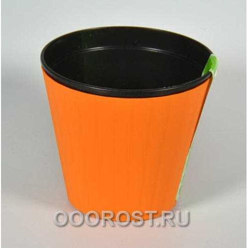Горшок Ибис с двойным дном 13*11,2 оранж-чер