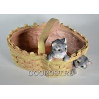 Кашпо Корзинка сердце с котятами H19см, L25см