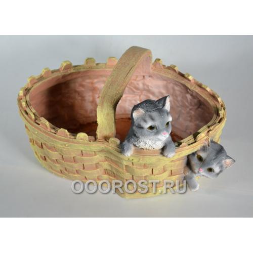 Кашпо Корзинка сердце с котятами h 19 см