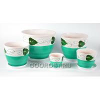 Комплект из 5 горшков Тюльпан-Венок зеленый   8л, 5л, 2,5л, 1л, 0,4л