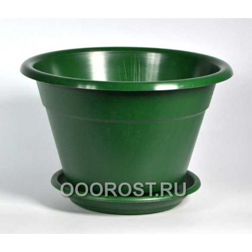 Горшок Конус 1.7л зеленый с поддоном