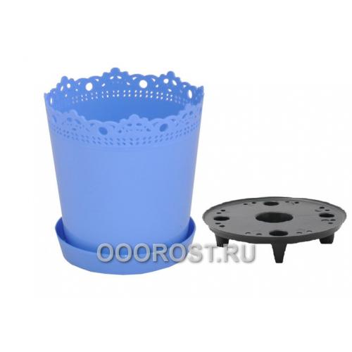 Горшок Ришелье d13см  голубой с под и дренаж