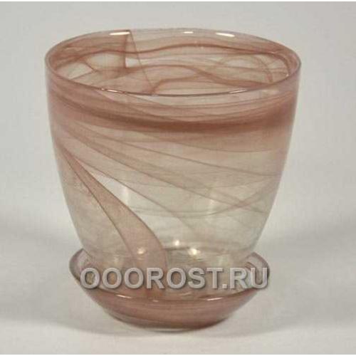 Горшок стеклянный №2 с поддоном Коричневый