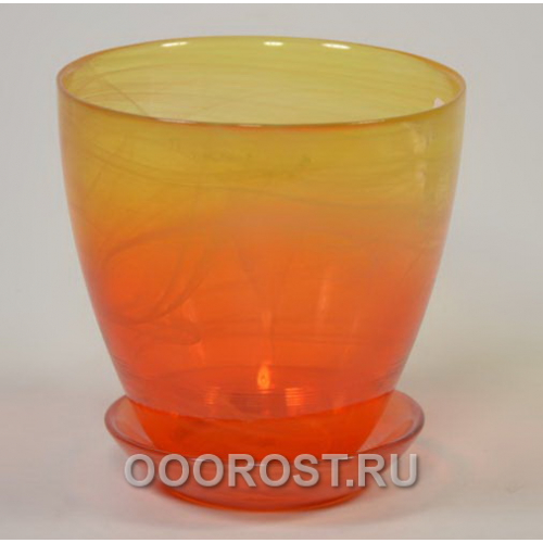 Горшок стеклянный №2 с поддоном крашеный Желто-оранж