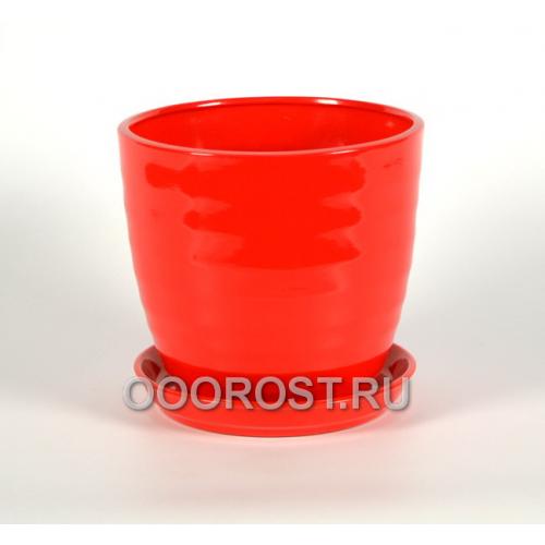 Горшок Обруч №2 4,7л (глянец красный) d22 см, h 20см