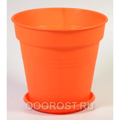 Горшок Глория с поддоном 11*10,2 оранжевый