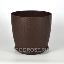 Горшок Ротанг d30 темно-коричневый с поддоном, h27см 15л