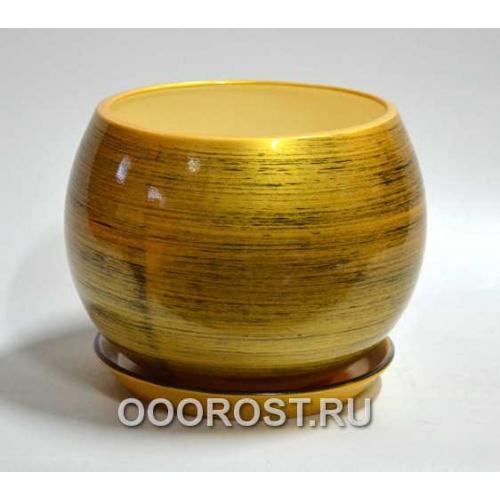 Горшок Шар 9л  (глянец золото-черный) d27см, h23см