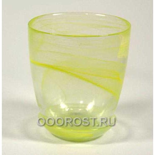 Горшок стеклянный №3 с поддоном Желтый