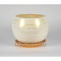 Керамический горшок Шар 9л глянец Бело-золото d27 см, h23 см