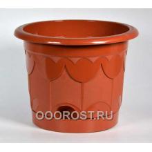 Горшок Тюльпан d27,5см коричневый с поддоном
