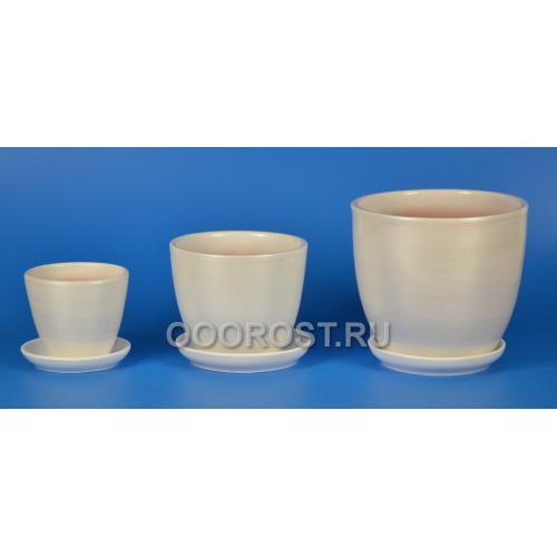 Комплект из 3 горшков Тюльпан-Белый Перламутр   2,5л, 1л, 0,4л
